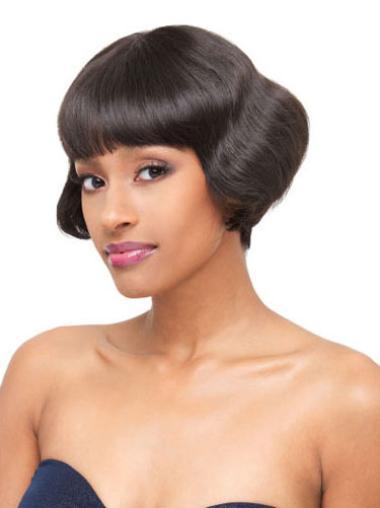 Short Lace Front Sassy Brazilian Human Wavy Hair Wig With Bangs