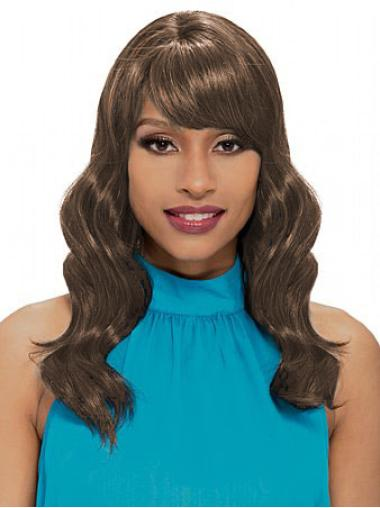 Cheapest Wavy Brown African American Capless Shoulder Length Wigs