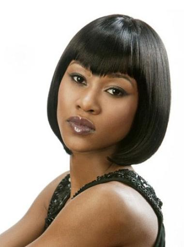 Chin Length Bobs Lace Front Affordable African American Human Yaki Wigs