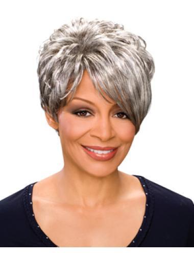 Modern Short Capless Grey Wigs For African American Women