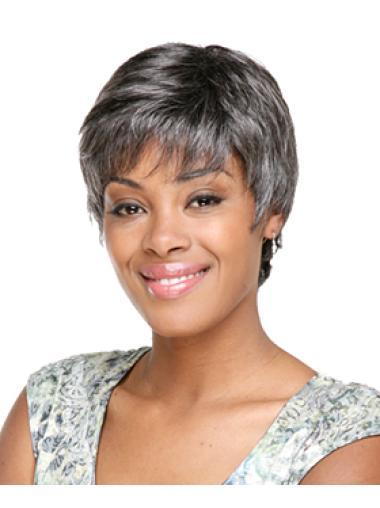 Online Short Capless Grey Hair Wigs For Black Women