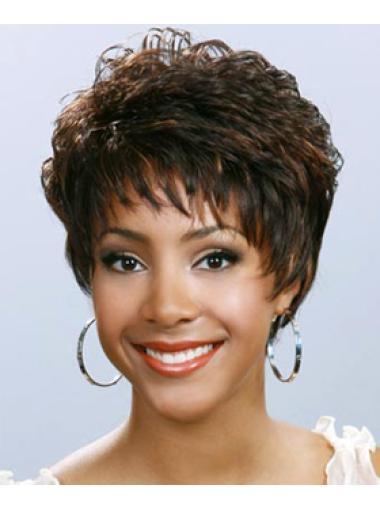 Soft Wavy Brown Cute Short Wigs For Black Women