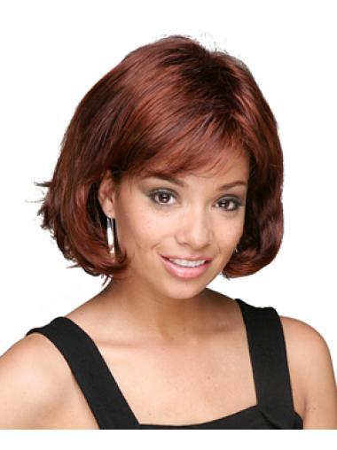Auburn Capless Chin Length Wigs For Black Women Medium Bobs