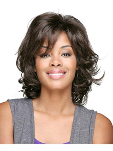 Brown Shoulder Length Curly African American Wigs With Bangs