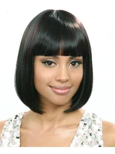 Capless With Bangs Chin Length African American Black Wigs