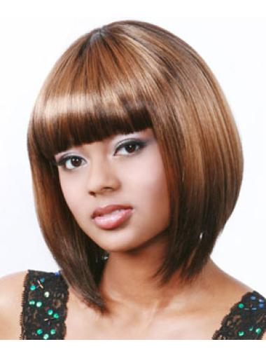 Auburn Capless Bob Wigs For African American Women