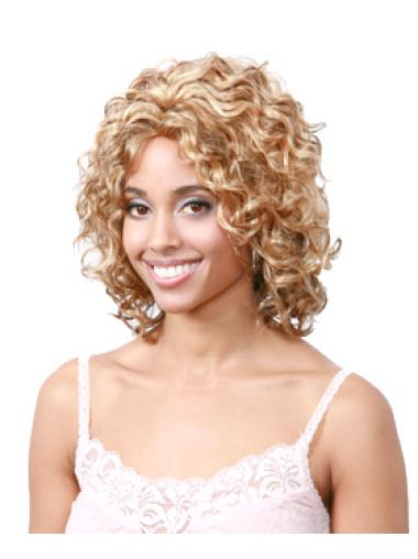 Chin Length Black Women With Blonde Curly Wig Without Bangs