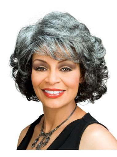 Fashion Capless Chin Length Grey Wig For African American