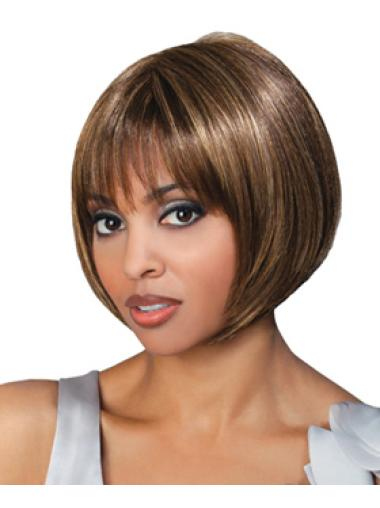 Brown Chin Length Bob Wigs