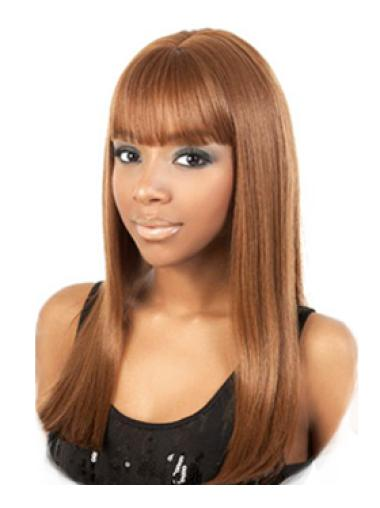 Long Capless With Bangs Synthetic African American Wigs