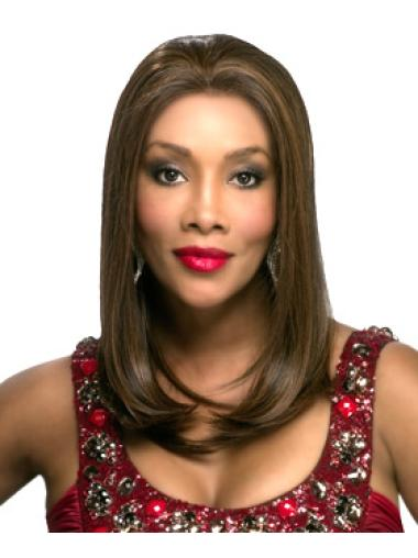 Synthetic Brown 17 Inches Black Women'S Long Straight Wigs