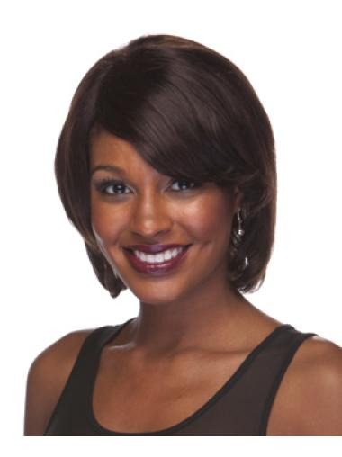 Brown Chin Length Indian Remy Human Hair Wigs African Americans
