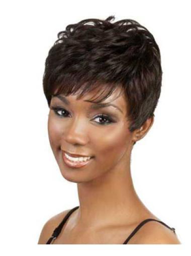 9 Inches Capless Boycuts Wavy Black Women Short Style Wigs
