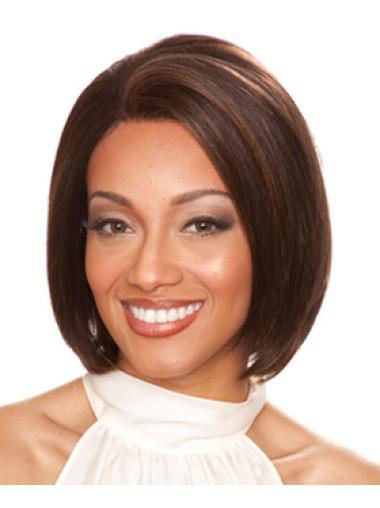 Durable Chin Length Straight Auburn Bobs Human Wigs For Black Females