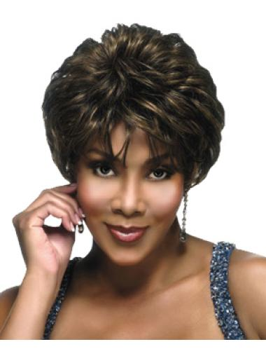 Brown Layered Capless Cropped Human Hair Wig For Black Women