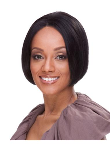 Great Straight Black Bobs African American Wigs Short Human Hair