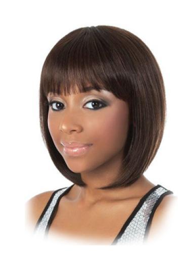 11 Inches Capless Bobs Straight Black Womens Human Hair Wigs