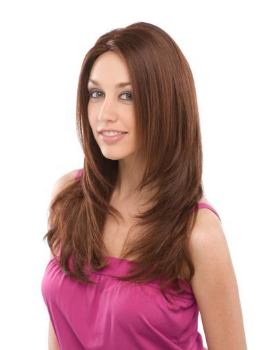 Long Straight Auburn Layered Cheap Human Full Lace Wigs