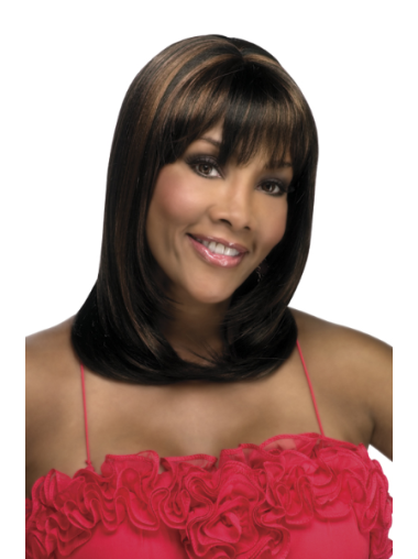 Brown Straight With Bangs Synthetic African American Capless Wigs
