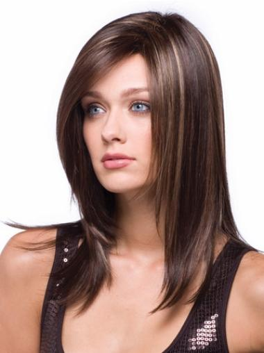 Top Capless Auburn Without Bangs Straight Synthetic Long Wigs