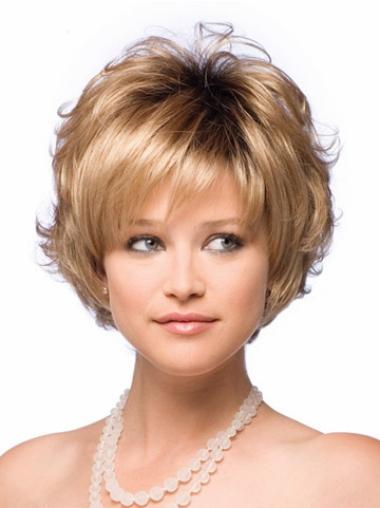 New Layered Synthetic Blonde Short Capless Wavy Wig