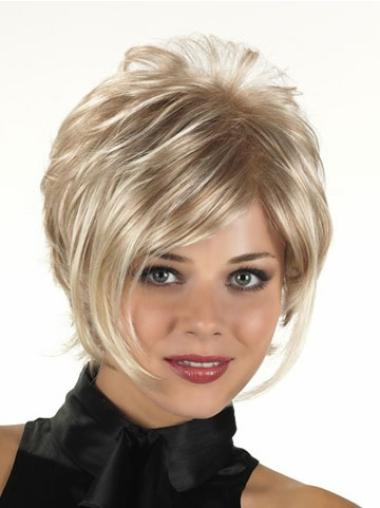 Trendy Blonde Short Layered Capless Curly Synthetic Wigs