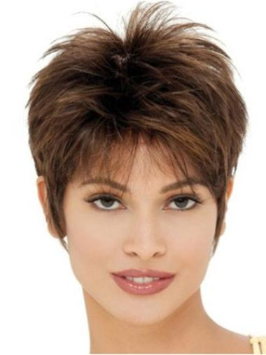 Comfortable Brown Straight Cropped Boycuts Capless Synthetic Wigs