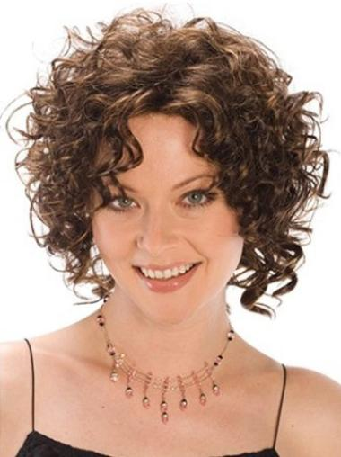 Soft Brown Chin Length Classic Capless Synthetic Curly Wigs