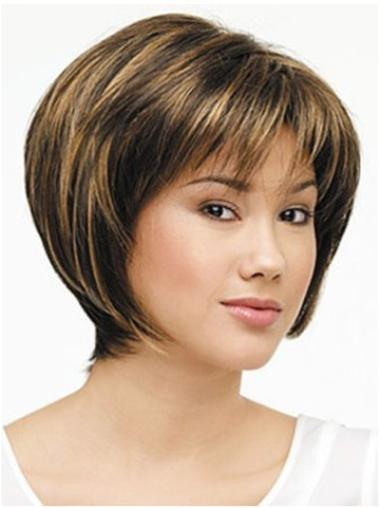 Synthetic Straight Brown Durable Bob Natural Looking Lace Front Wigs
