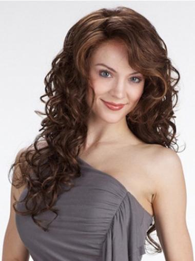 Exquisite Lace Front Curly With Bangs Synthetic Long Curly Wig