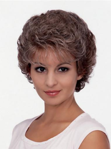 Short Curly Classic Brown No-Fuss Classic Synthetic Wigs For Sale