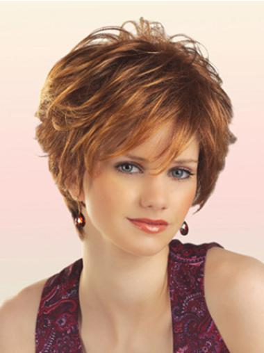 Perfect Auburn Wavy Layered Capless Short Synthetic Hair Wigs