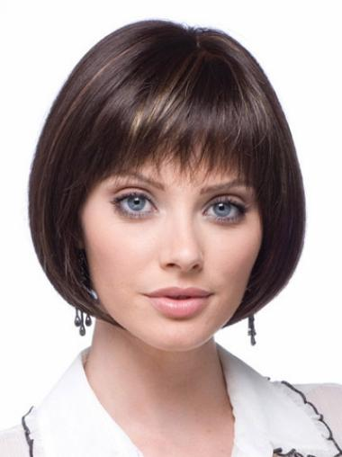 Ideal Brown Straight Short Synthetic Lace Front Wigs