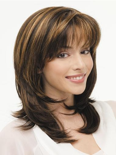 Fashionable Lace Front Straight Layered Synthetic Long Wigs