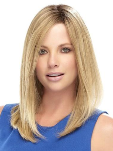 Shoulder Length Straight Without Bangs Blonde Medium Length Synthetic Wig