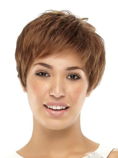 No-Fuss Caplessboycuts Cheap Synthetic Straight Brown Wig