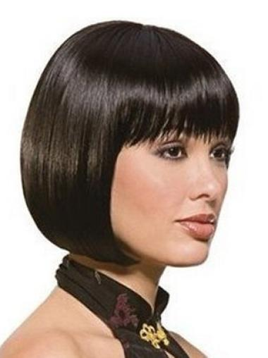 Natural Straight Chin Length Bobs Synthetic Wigs For Black Hair