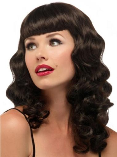 Capless Long Wavy 16 Inches African American Wigs With Bangs Synthetic