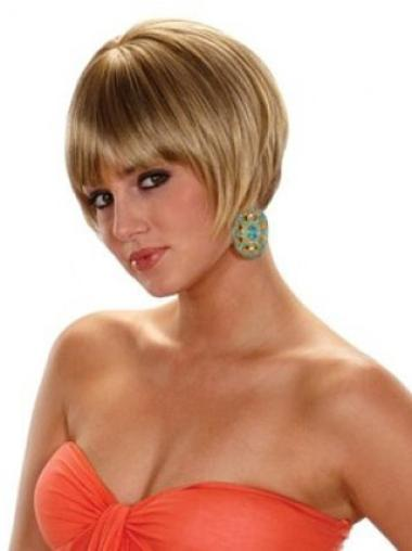Amazing Blonde Straight Bobs Synthetic Capless Short Women'S Wigs