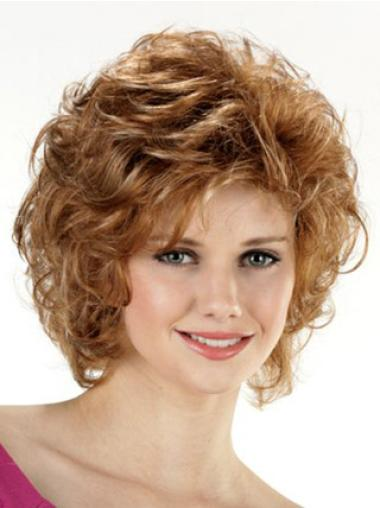 Cheap Brown Layered Chin Length Curly Synthetic Lace Front Wigs