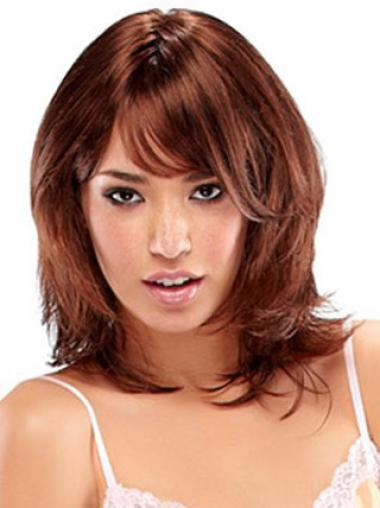 Auburn Straight Layered Shoulder Length High Quality Synthetic Wigs For Sale