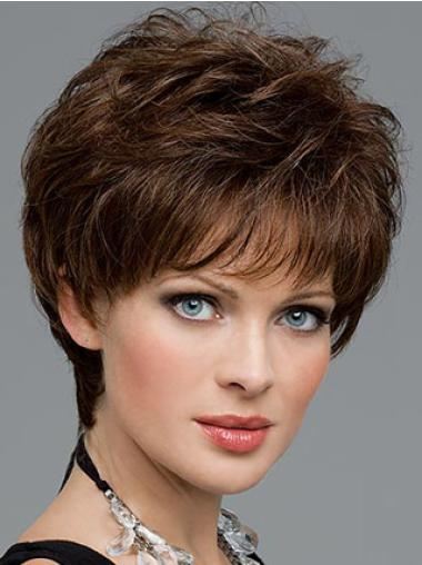 Glueless Synthetic Lace Front Wigs Wavy Cropped Designed Hair