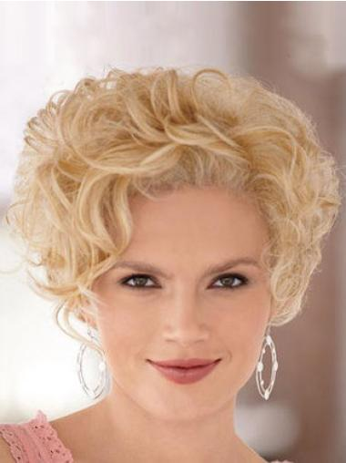 Sleek Curly Lace Front Cheap Short Blonde Wigs