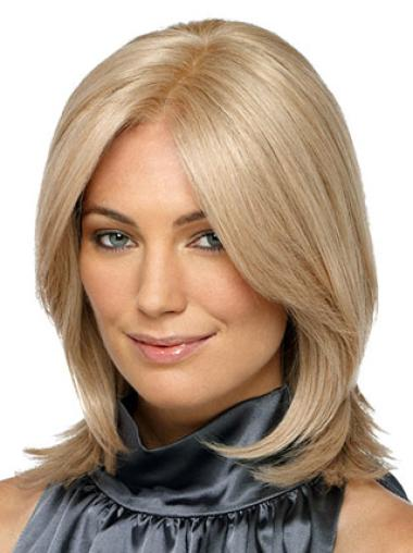 High Quality Straight Shoulder Length Synthetic Cheap Blonde Wig