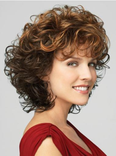 Best Brown Chin Length Lace Front Curly Synthetic Wigs With Bangs