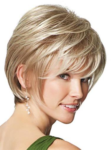 Hairstyles Blonde Straight Synthetic Capless Short Wigs