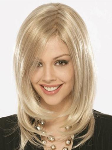 Top Straight Shoulder Length Capless Synthetic Blonde Wigs