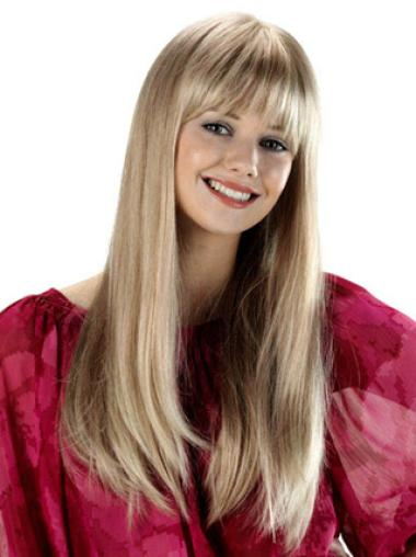New Straight Long Capless Synthetic Blonde Wig With Bangs