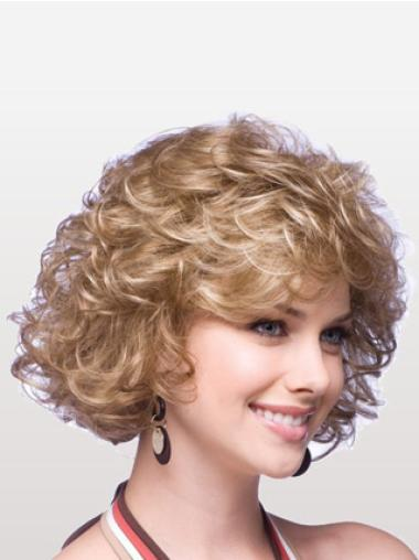Chin Length Curly Layered Great Classic Synthetic Wigs Blonde
