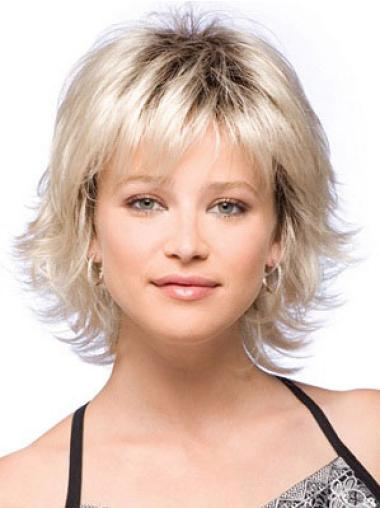 Comfortable Straight With Bangs Synthetic Cheap Blonde Wigs